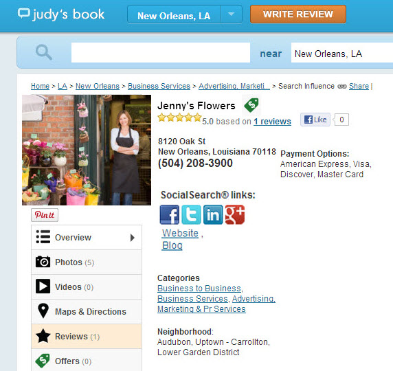 Judys Book Social Search Links